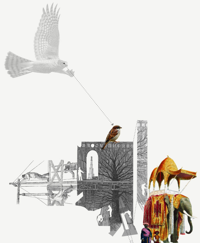 Theo Jones architecture Crystal Palace Park history collage drawing trees sparrowhawks