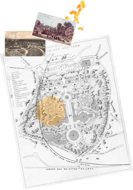 Crystal Palace Park Map (1857) (Public Domain)