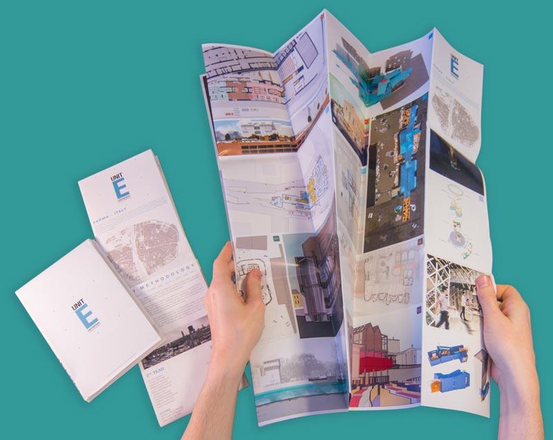 Theo Jones architecture Unit E Exhibition Oxford Brookes School of Architecture leaflet guide folding