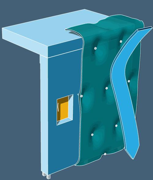 Theo Jones architecture bioplastic composite wall structure illustration rainscreen water axo drawing diagram