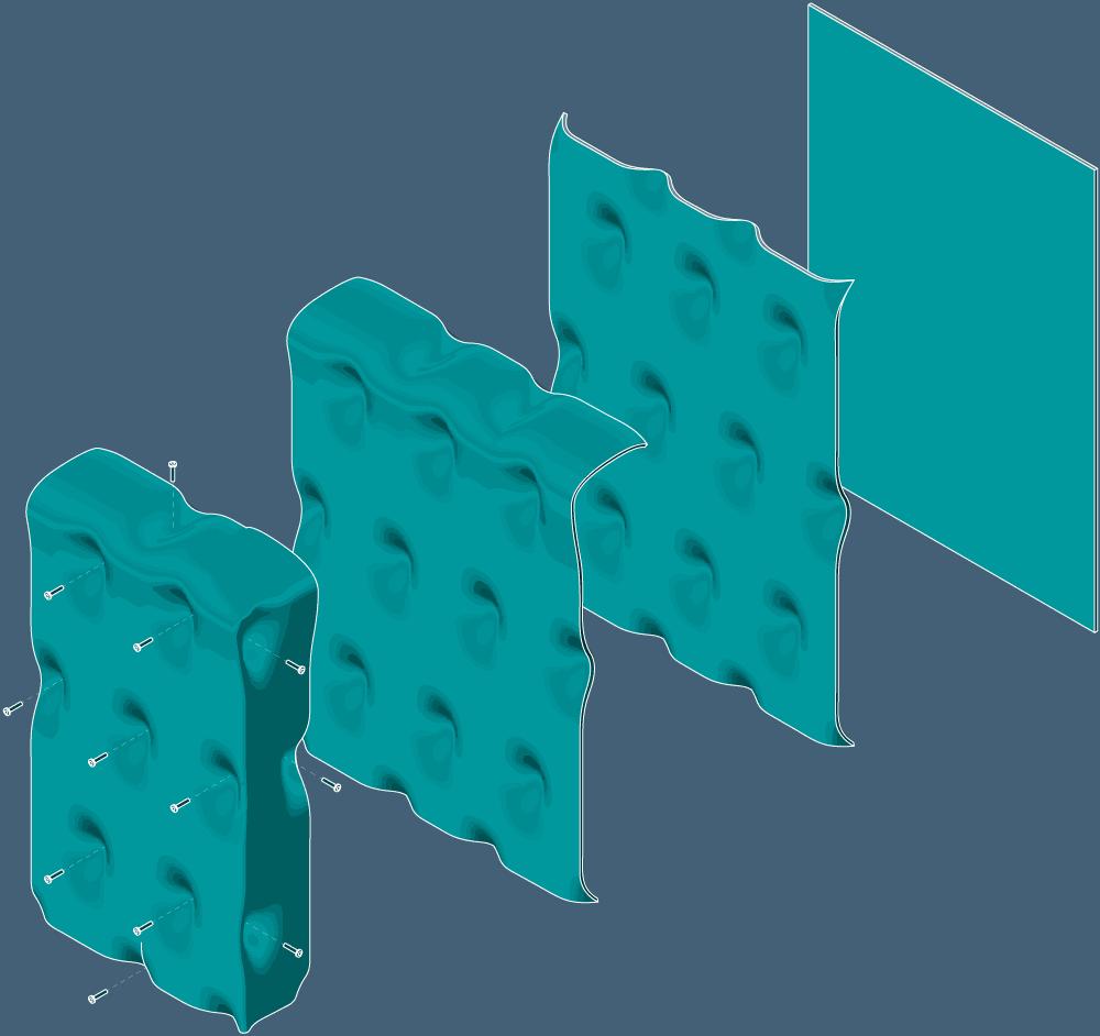 Theo Jones architecture bioplastic gelatine screen folding structure illustration axo drawing diagram