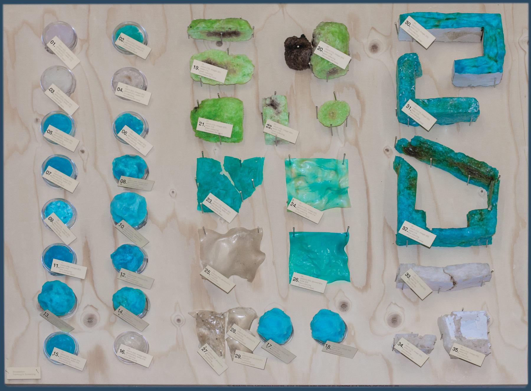 Theo Jones architecture bioplastic starch gelatine samples board