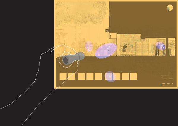 Theo Jones architecture International Magic Shop london section UV ultra violet drawing hidden