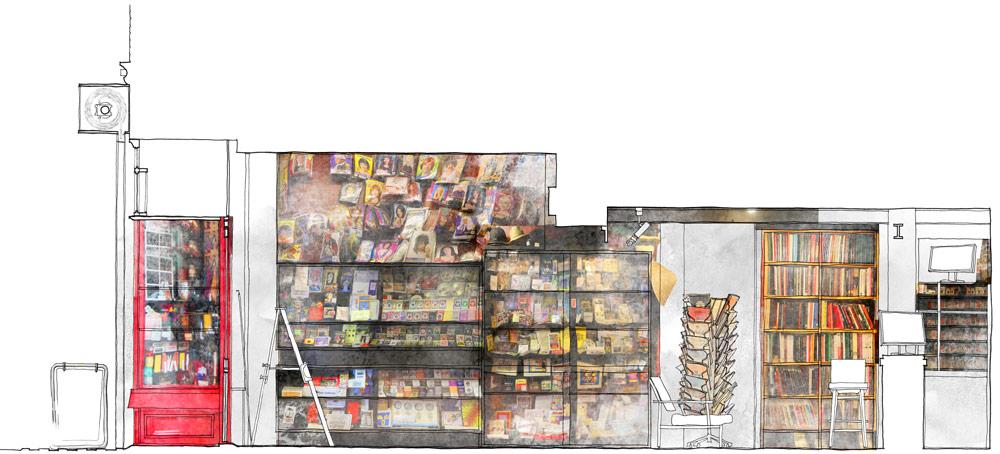 Theo Jones architecture International Magic Shop london section magic shop existing interior