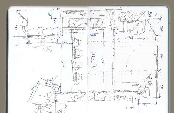 Theo Jones architecture Pocket Dyers and Associates magic shop plan sketch